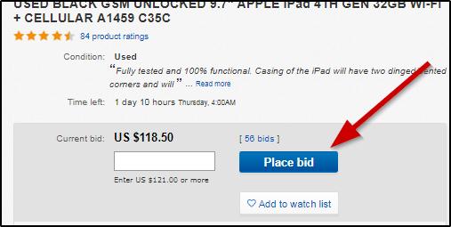 как правильно указать ставку на аукционе ebay