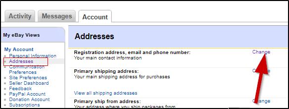 Ebay личный кабинет  переходим в подраздел  заменить адрес доставки