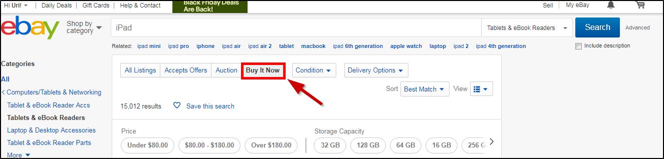 Ebay  методы поиска товара в личном кабинете
