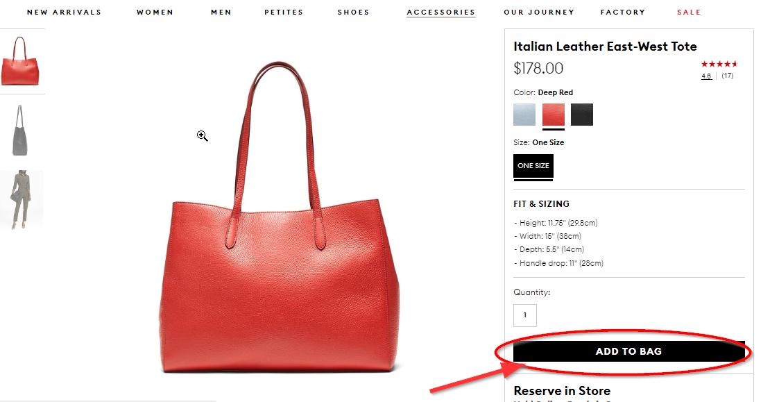 выберем женскую сумку в интернет-магазине banana republic