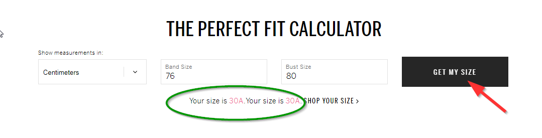 калькуляторе размеров исчисление сайт Victoria Secret