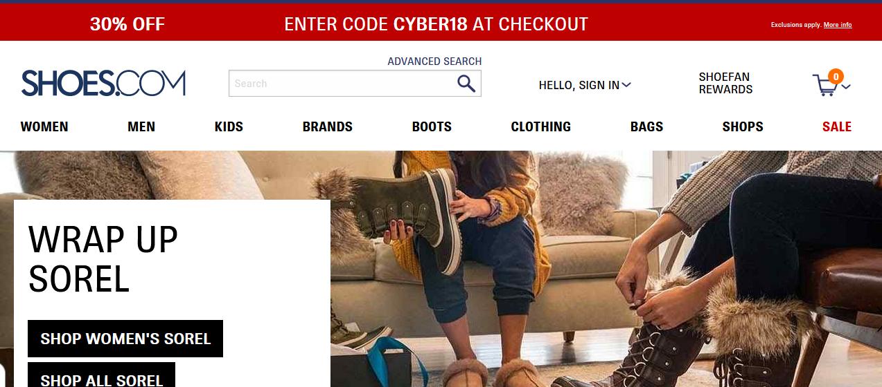 Официальный сайт: shoes.com