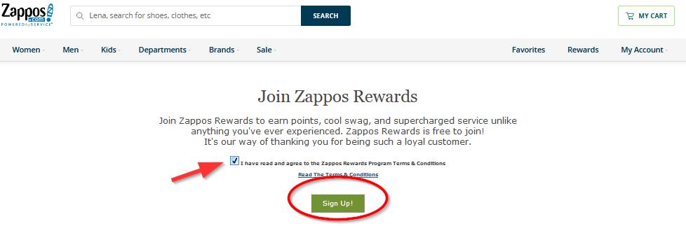 принять оферту от сайта zappos