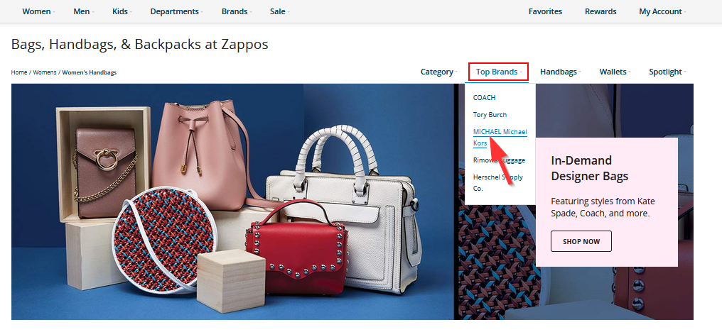 поиск товара по марке изделия на zappos